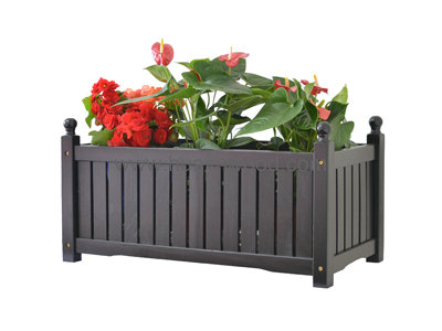 black wooden planter box