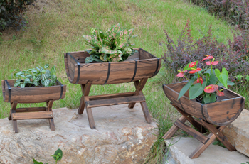 elevated barrel planters