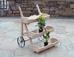 three tier wooden planter cart